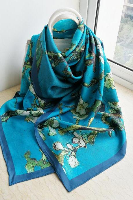 100% Mulberry Silk Twill Women's Large Retro Floral Prints Neckerchief Square Scarf 140cm x 140cm